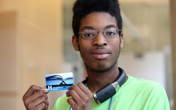 Teen with library card