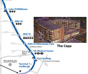 map of Blue Line LRT and proposed drawing for The Capp