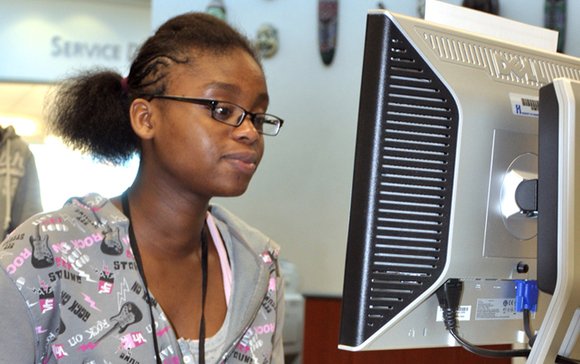 Teen Girl at computer