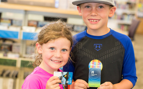 Children with library cards