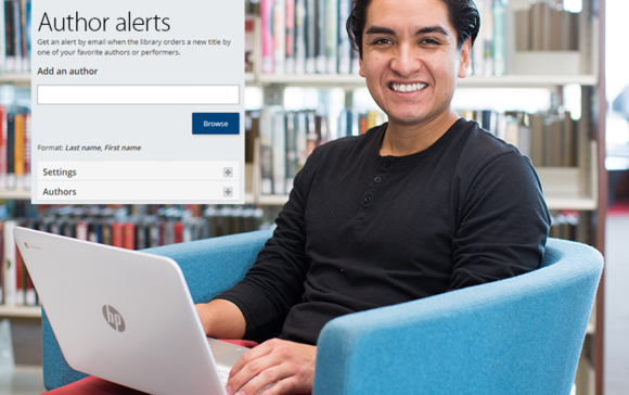 Author alerts menu on image of man with laptop