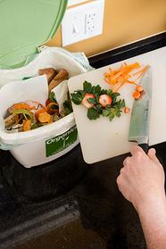 Scraping food waste into organics bin