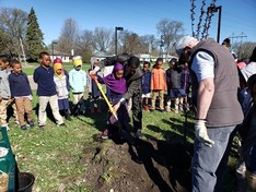 Arbor Day tree planting at Prairie Seeds Academy