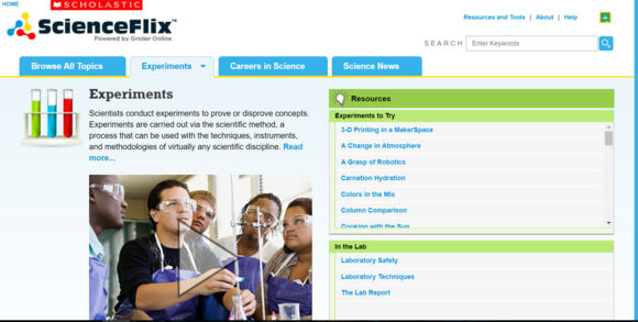 Screenshot of database ScienceFlix