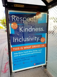 Image of a sign that says Respect Kindness Inclusivity