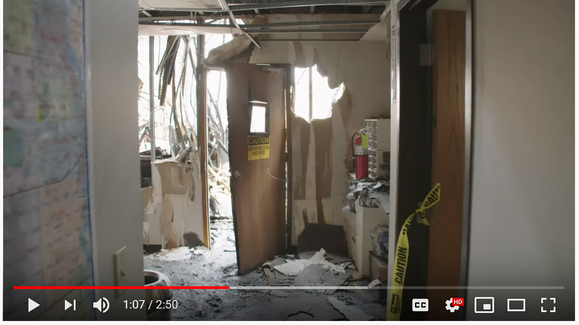 Still image of YouTube video showing rags ignighting
