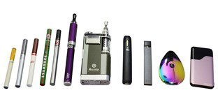 Photo of various e-cigarette devices
