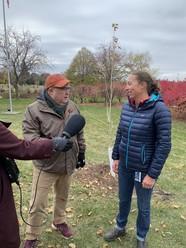 Hennepin County forester Jen Kullgren and MPR host Tom Crann