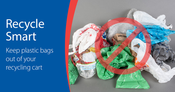 Recycle Smart keep plastic bags out of your recycling cart graphic