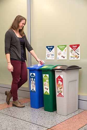 Business recycling bin set up
