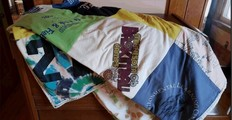 Quilt made out of old t-shirts