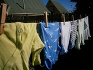 Clothing hanging on line to dry