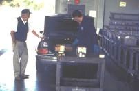 Unloading vehicle at drop-off facilities