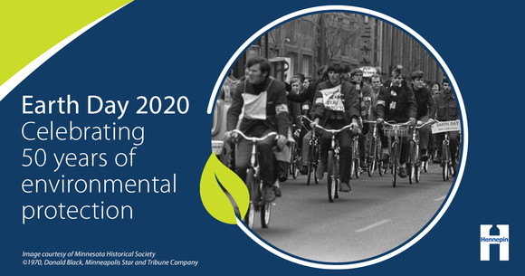 Celebrating 50 years of Earth Day graphic with historic Earth Day bike photo