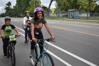 Group biking in bike lane