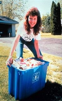 Woman with Hennepin recycing bin in 1970s