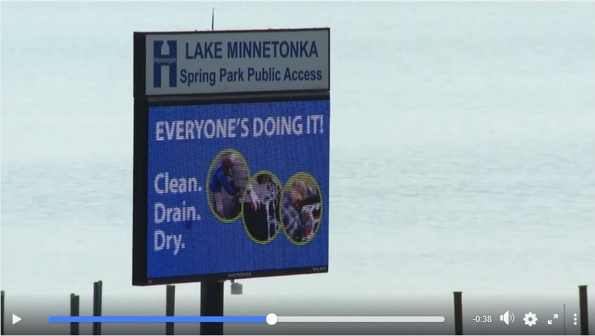 Screenshot of Due North video showing public access sign with Clean Drain Dry message