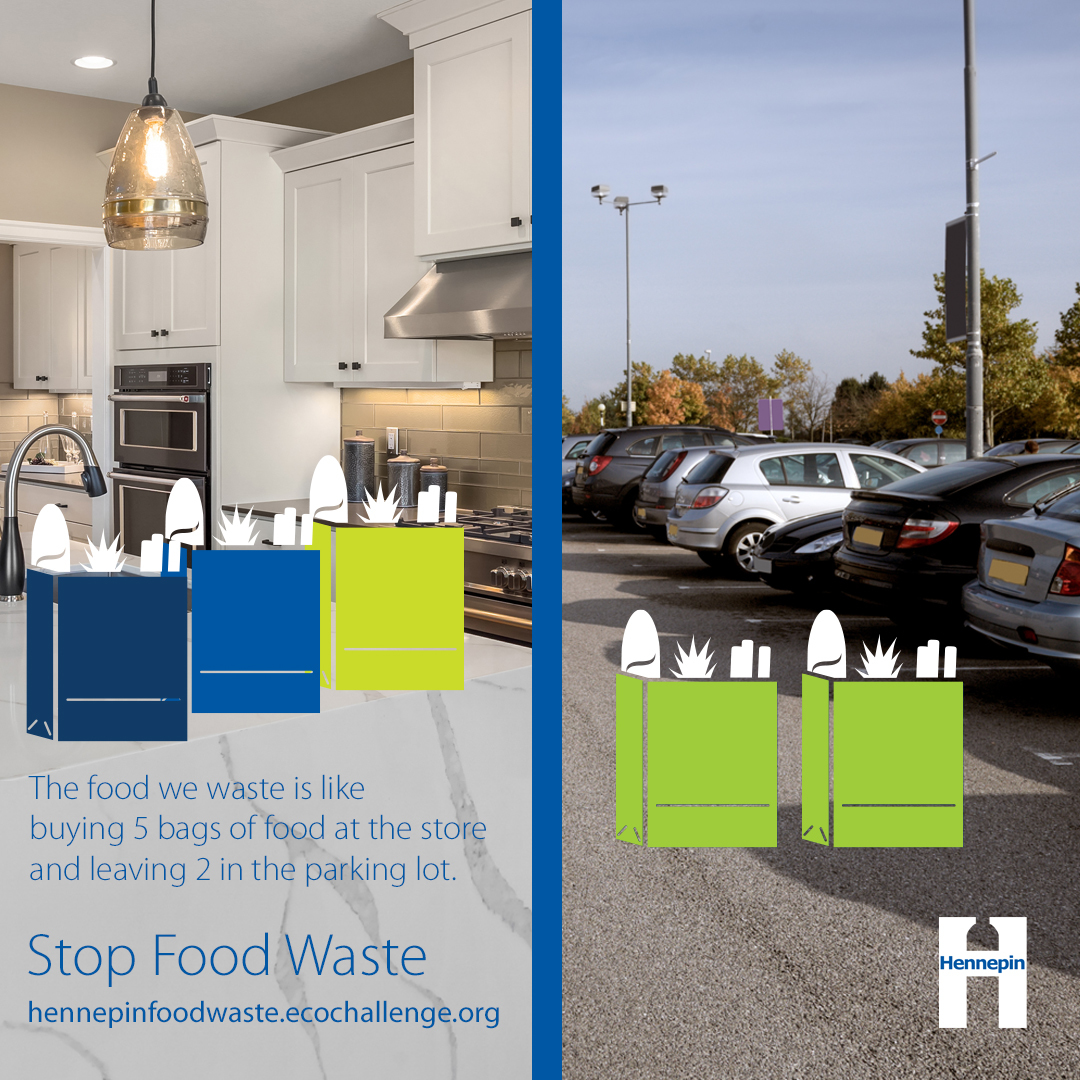 Photo of kitchen and parking lot with 2 bags of food left behind