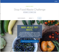 Screenshot of the Stop Food Waste Challenge home page