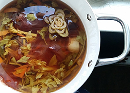 Overhead photo of pot of soup