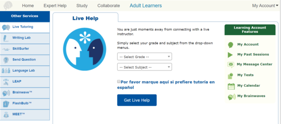 screenshot of Help Now tutoring service