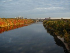 Fall colors on the Mississippi River looking toward downtown Minneapolis