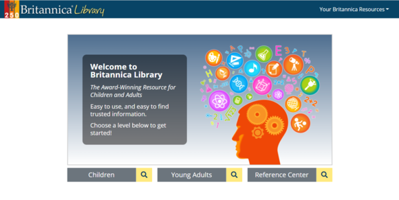 screenshot of brittanica library