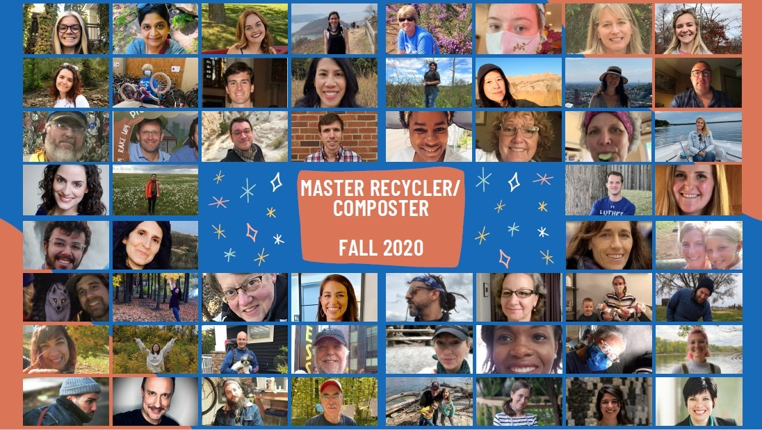 Master Recycler/Composter fall 2020 class photo - collage of photos submitted by participants
