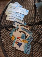 Upcycled Master Recycler nametags made from license plates