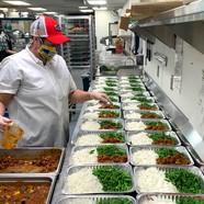 Meals being prepared in bulk