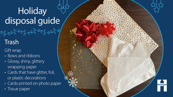 Glossy, shiny, glittery wrapping paper, bows and ribbons, tissue paper go in the trash