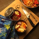 Lunch in reusable metal containers and reusable snack bags