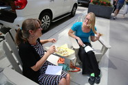 Two women having conversation