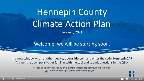 Screenshot of first slide of Hennepin County Climate Action Plan presentation