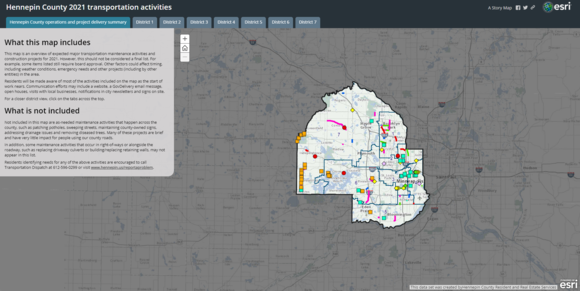 Map of transportation projects in Hennepin County