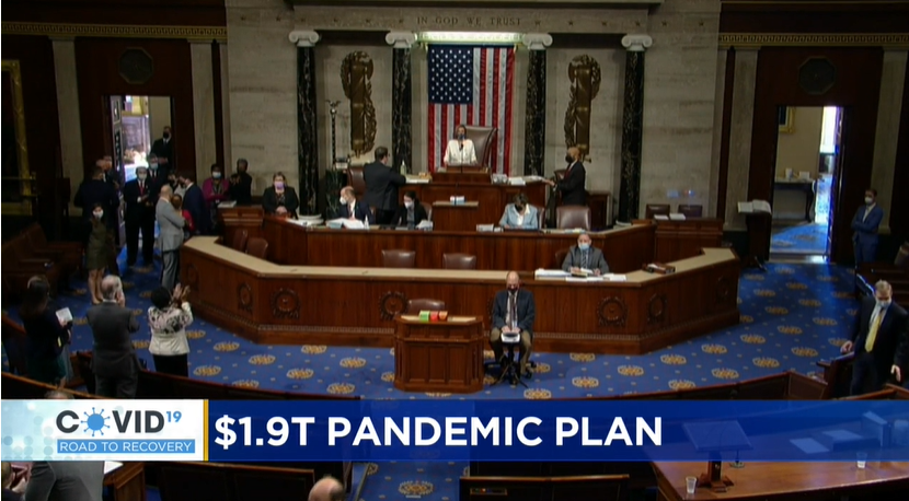News cast screenshot. Nancy Pelosi gaveling