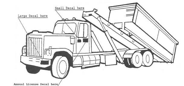 waste hauler truck decal placements