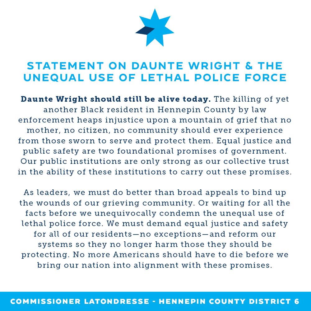 Commissioner LaTondresse's full statement on Daunte Wright killing
