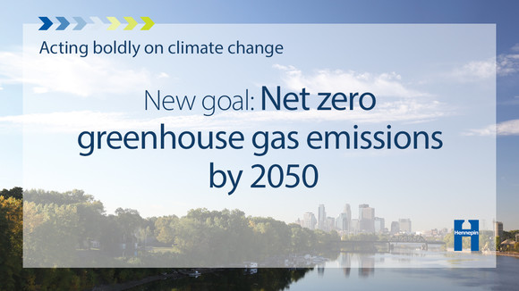 Graphic that says acting boldly on climate change, new goal: net zero greenhouse gas emissions by 2050