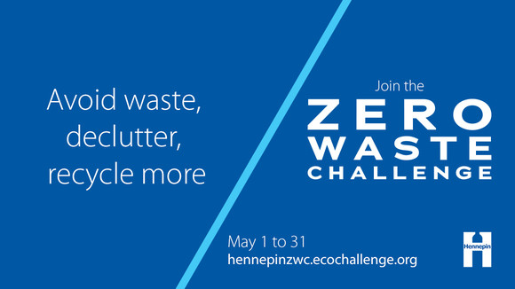 Graphic that says reduce waste, declutter, recycle more join the Zero Waste Challenge