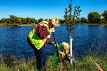 Two volunteers planting trees in a park next to a lake