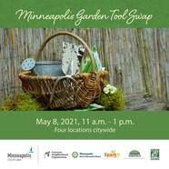 Graphic promoting Minneapolis garden tool swaps with bucket of garden tools