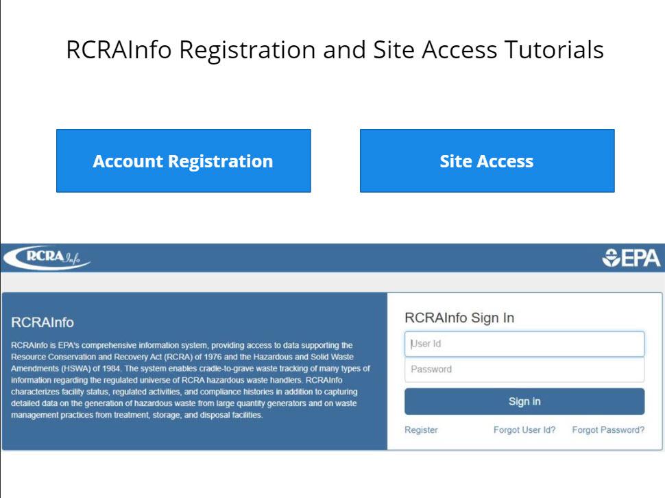 RCRA INFO home page