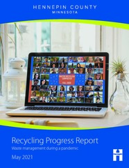 Cover of the 2020 Recycling Progress Report featuring a laptop with pictures of virtual Master Recycler/Composter class participants displayed