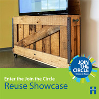 Salvage showcase graphic feature TV stand made from reclaimed wood