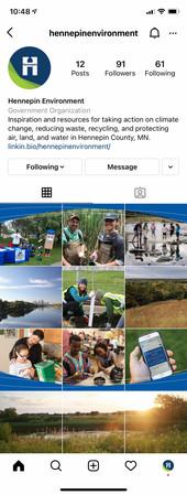 Screenshot of Hennepin Environment on Instagram
