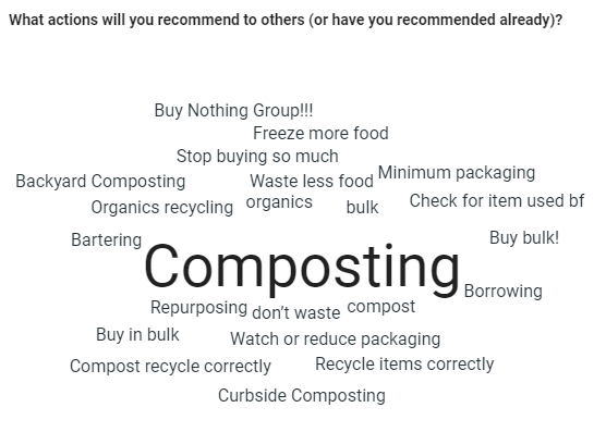 Actions that Zero Waste Challenge households would recommend to others