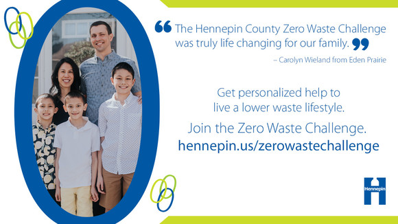 Photo of a Zero Waste Challenge family with quote saying the challenge was life-changing for them