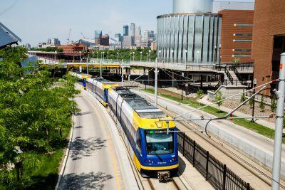 Light rail train leaving downtown