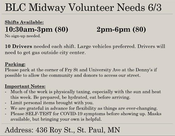 BLC volunteer needs